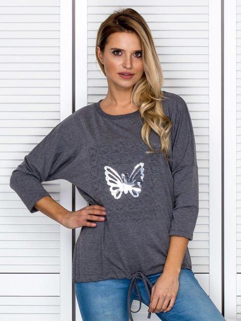 Ciemnoszara bluza z motywem motyli                                  zdj.                                  1