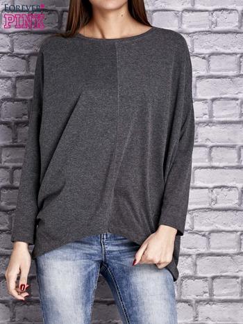 Ciemnoszara bluzka z rękawem nietoperz                                  zdj.                                  1