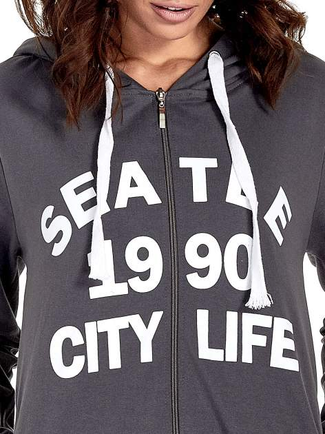 Ciemnoszara damska bluza z kapturem i napisem SEATLE 1990                                  zdj.                                  5