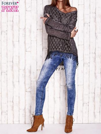 Ciemnoszara dekatyzowana bluzka z troczkami                                  zdj.                                  2