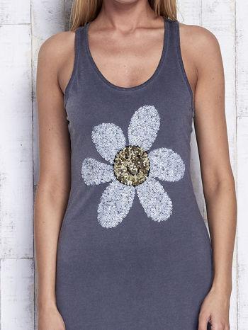 Ciemnoszara dekatyzowana sukienka maxi z cekinowym kwiatem                                  zdj.                                  5