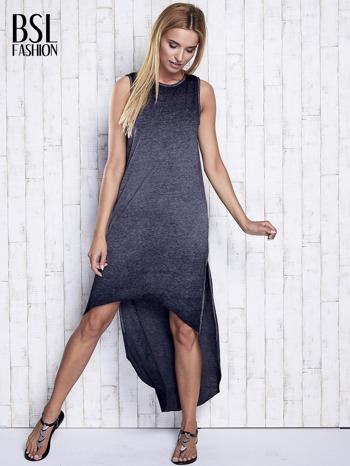 Ciemnoszara dekatyzowana sukienka maxi z dłuższym tyłem                                  zdj.                                  2