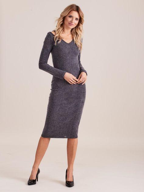 Ciemnoszara dopasowana sukienka cold shoulder                              zdj.                              1