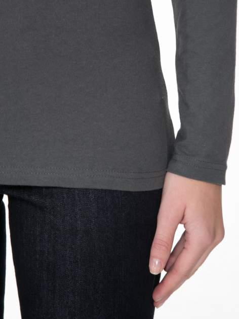 Ciemnoszara gładka bluzka z reglanowymi rękawami                                  zdj.                                  6