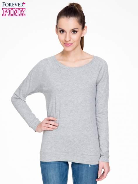 Ciemnoszara melanżowa bawełniana bluzka z rękawami typu reglan                                  zdj.                                  1