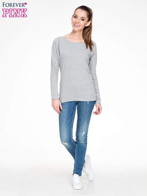 Ciemnoszara melanżowa bawełniana bluzka z rękawami typu reglan                                  zdj.                                  2