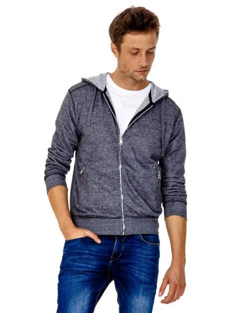 Ciemnoszara melanżowa bluza męska z zasuwanymi kieszeniami                                  zdj.                                  2