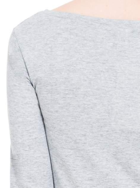Ciemnoszara melanżowa bluzka tunika z marszczonym dołem                                  zdj.                                  7