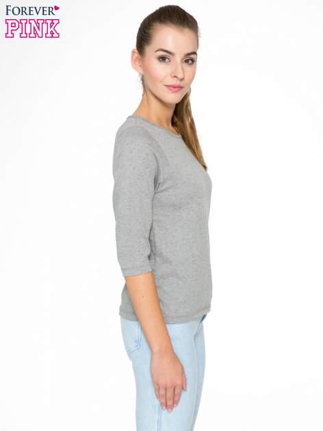Ciemnoszara melanżowa bluzka z rękawami 3/4                                  zdj.                                  3