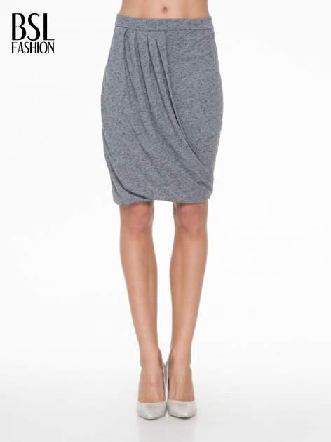 Ciemnoszara melanżowa spódnica z drapowaniem                                  zdj.                                  1
