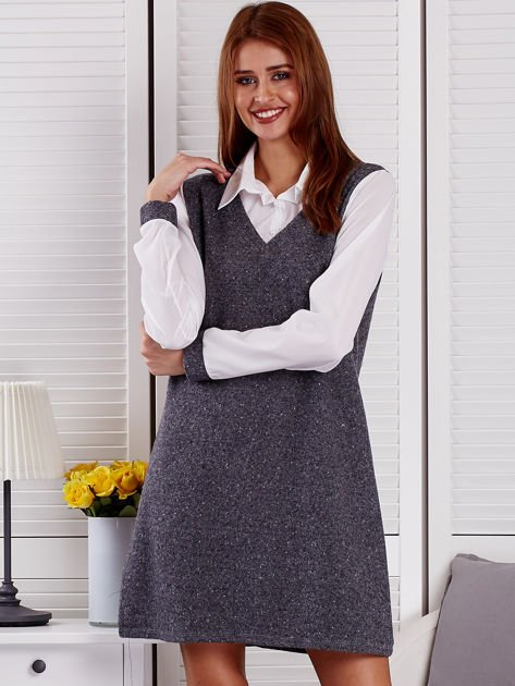 Ciemnoszara melanżowa sukienka z koszulą                               zdj.                              1