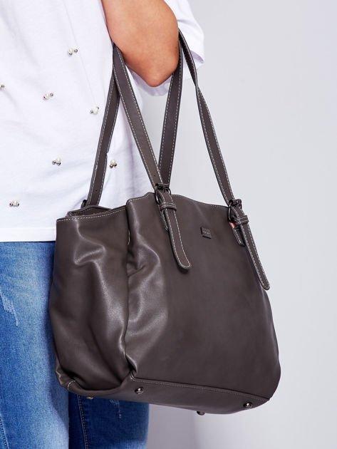 Ciemnoszara miękka torba w miejskim stylu                                  zdj.                                  3