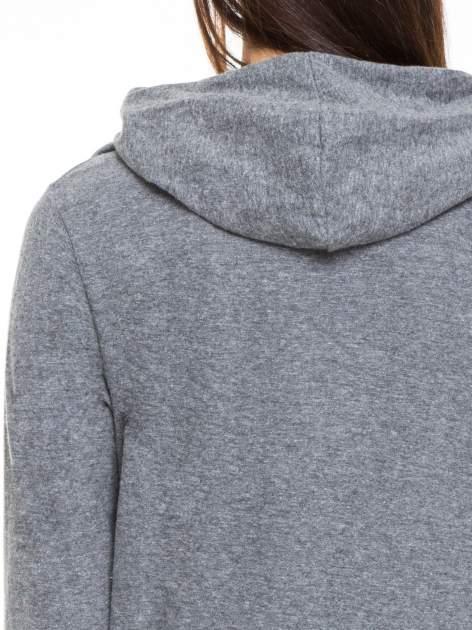 Ciemnoszara otwarta bluza dresowa z kapturem                                  zdj.                                  5