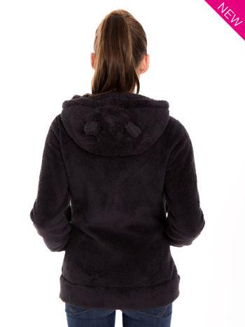 Ciemnoszara pluszowa bluza z kapturem z uszkami i pomponami                                  zdj.                                  3