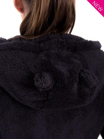 Ciemnoszara pluszowa bluza z kapturem z uszkami i pomponami                                  zdj.                                  7