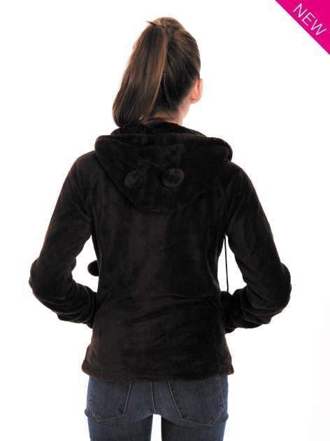Ciemnoszara pluszowa bluza z kapturem z uszkami i pomponami                                  zdj.                                  4