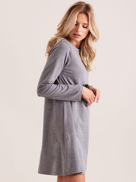 Ciemnoszara sukienka bawełniana z kokardą                              zdj.                              3
