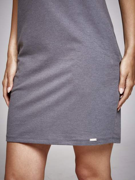 Ciemnoszara sukienka dresowa ze srebrnym printem PARIS                                  zdj.                                  6