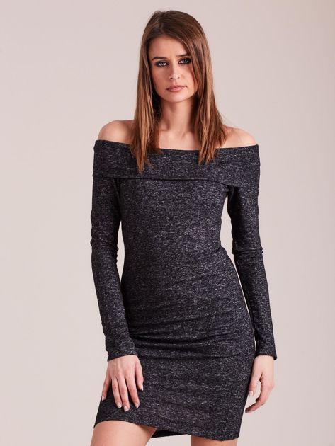 Ciemnoszara sukienka odsłaniająca ramiona                              zdj.                              1