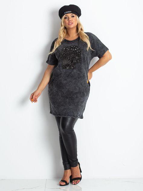 Ciemnoszara sukienka plus size Brillance                              zdj.                              4