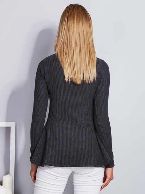Ciemnoszara sznurowana bluzka z baskinką                              zdj.                              2