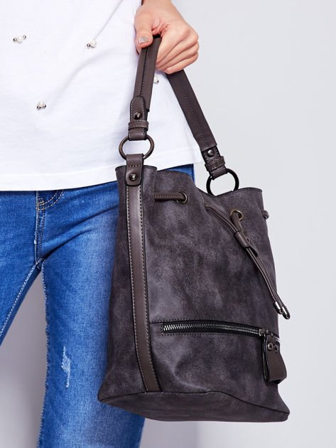 Ciemnoszara torba z suwakami                                   zdj.                                  3