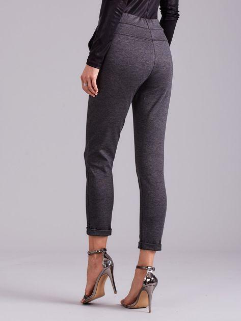 Ciemnoszare spodnie damskie z troczkami                              zdj.                              3
