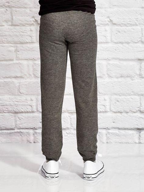 Ciemnoszare spodnie dresowe dla dziewczynki SMILE                                  zdj.                                  2