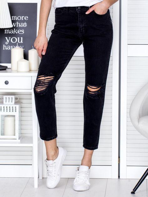 Ciemnoszare spodnie jeansowe z rozdarciami na kolanach                              zdj.                              1