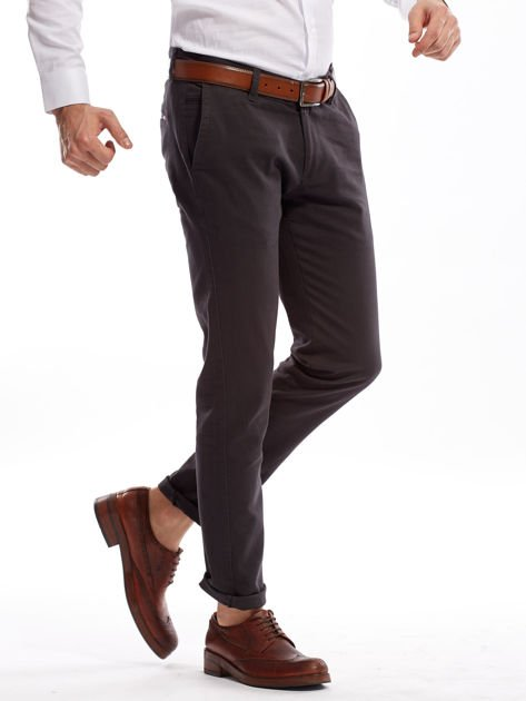 Ciemnoszare spodnie męskie chinos                                  zdj.                                  9