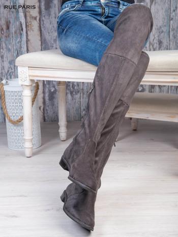 Ciemnoszare zamszowe kozaki faux suede za kolana wiązane na sznurek nad kolanem                                  zdj.                                  3