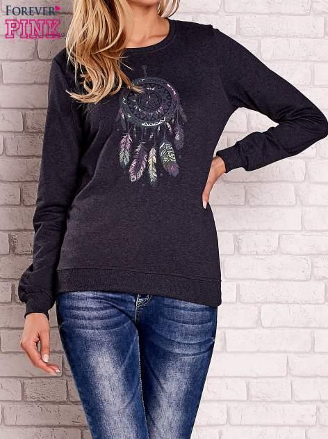 Ciemnoszary bluza z nadrukiem łapacza snów