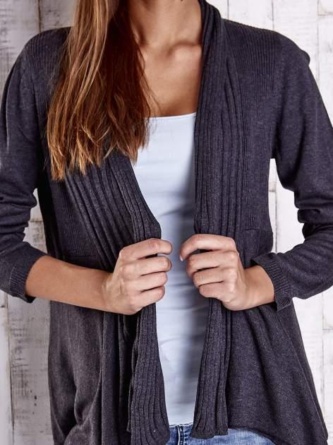 Ciemnoszary długi sweter z wykończeniem w prążki                                  zdj.                                  5