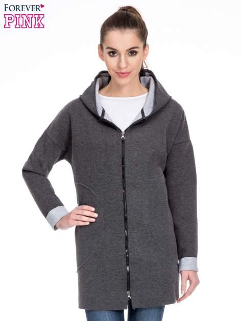 Ciemnoszary dresowy płaszcz oversize z kapturem