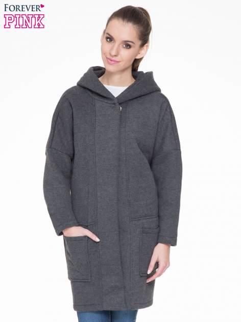 Ciemnoszary dresowy płaszcz z kapturem i kieszeniami                                  zdj.                                  1