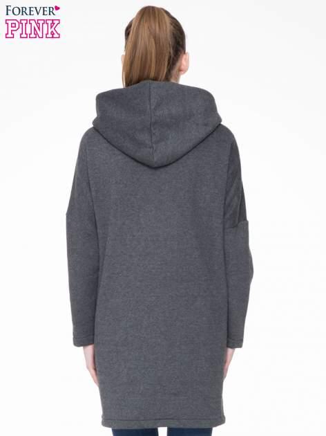 Ciemnoszary dresowy płaszcz z kapturem i kieszeniami                                  zdj.                                  4