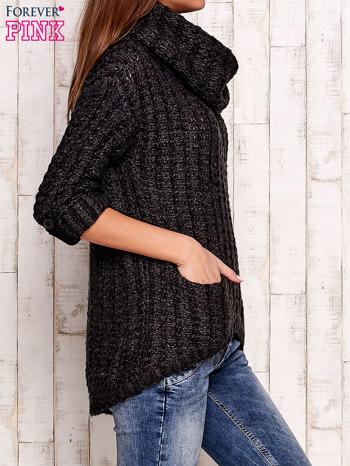 Ciemnoszary melanżowy sweter z szerokim golfem i kieszeniami                                   zdj.                                  3