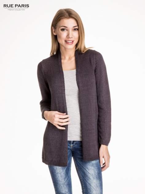 Ciemnoszary otwarty sweter z błyszczącą nitką                                  zdj.                                  1