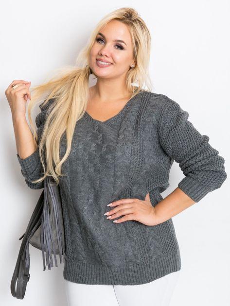 Ciemnoszary sweter plus size Flower