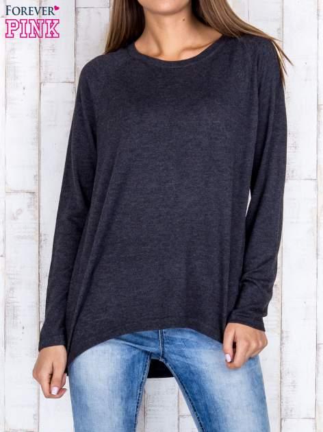 Ciemnoszary sweter z dłuższym tyłem i zakładką na plecach
