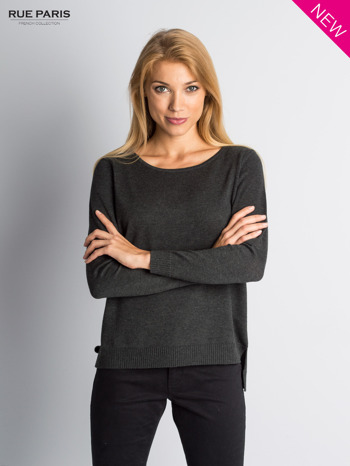 Ciemnoszary sweter z rozporkami i dłuższym tyłem