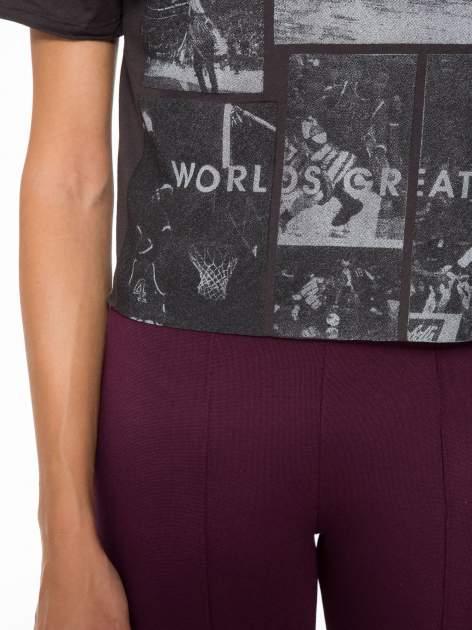 Ciemnoszary t-shirt cropped z nadrukiem basketball                                  zdj.                                  7