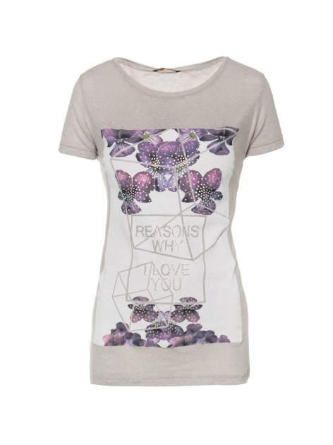 Ciemnoszary t-shirt z kwiatowym nadrukiem zdobionym dżetami