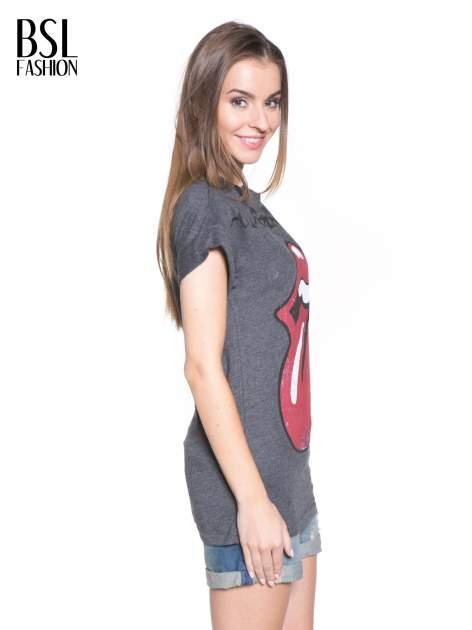 Ciemnoszary t-shirt z logo THE ROLLING STONES                                  zdj.                                  3