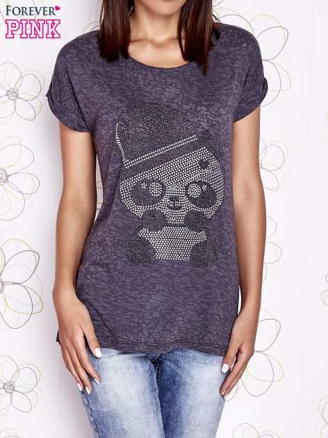 Ciemnoszary t-shirt z nadrukiem pandy                                  zdj.                                  1