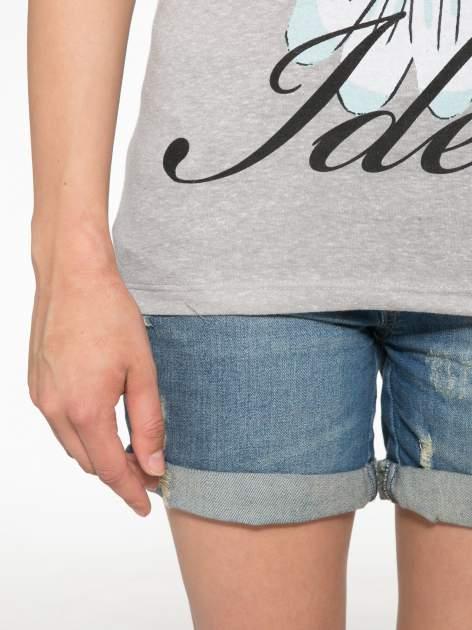 Ciemnoszary t-shirt z nadrukiem stokrotki z dżetami                                  zdj.                                  6