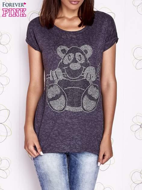 Ciemnoszary t-shirt z nadrukiem zwierzątka                                  zdj.                                  1