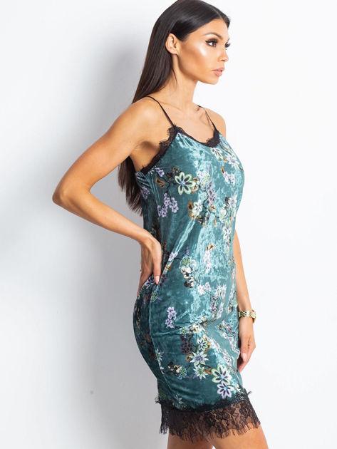 Ciemnoturkusowa aksamitna sukienka w kwiaty                              zdj.                              3
