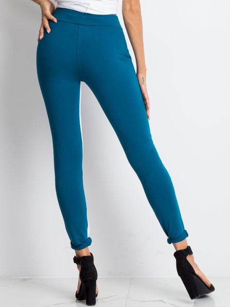 Ciemnoturkusowe spodnie dresowe Defined                              zdj.                              2