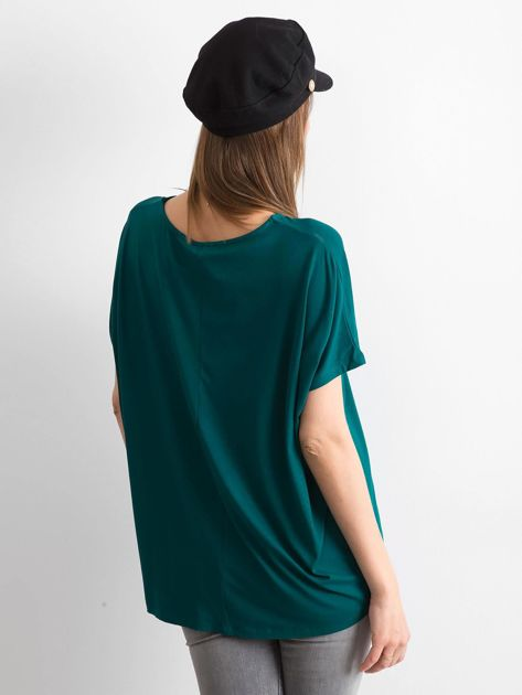 Ciemnozielona bluzka Oversize                              zdj.                              2